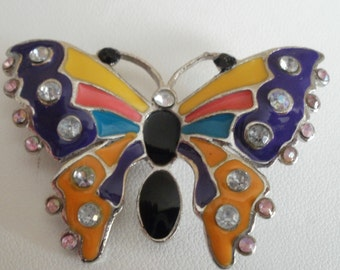 Vintage brooch, brooch, butterfly brooch, enamel brooch, crystal brooch, vintage jewelry