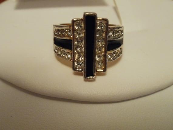 "Art Deco vintage 1940s 14 Kt. G.P. size 7-7 & 1/2"" geometric  ring"