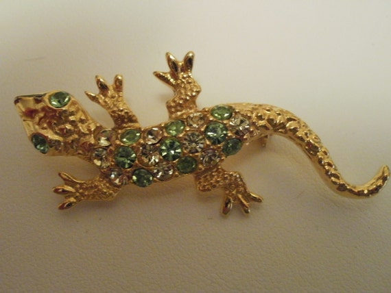 Vintage brooch, Lizard brooch, 1960s, Art Nouveau style, green and clear rhinestones