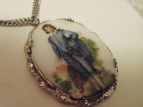 """Vintage pendant, """"Blue Boy"""" pendant, Thomas Gainsborough, porcelain pendant,silver pendant,"""