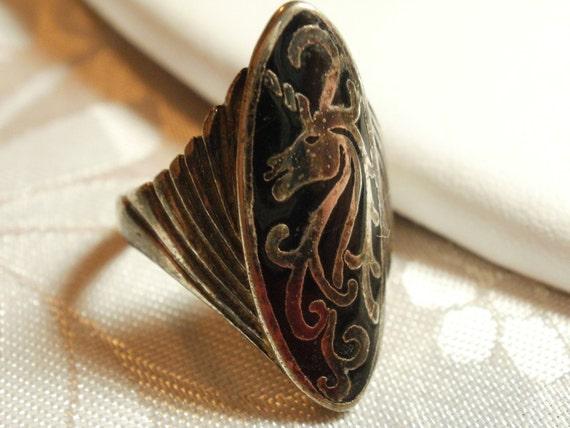 "Vintage ring, Unicorn ring, signed ""G&S 1986"" ring, biker ring, size 8 ring, statement ring"