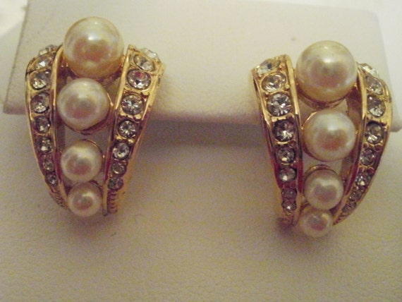 Reserved for Gazl till Sept. 15st--Vintage earrings, pearl earrings, crystal earrings, bridal earrings, wedding jewelry, stud earrings