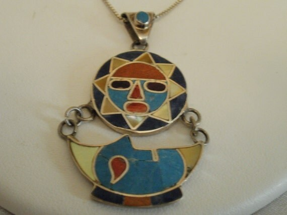 Vintage pendant, Zuni pendant,  950 silver pendant, native american pendant, sun and moon pendant, tribal pendant