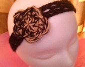 Buy ONE Get ONE Free SALE - Hand Crochet Dreadband / Headband - Black & Tan Flower