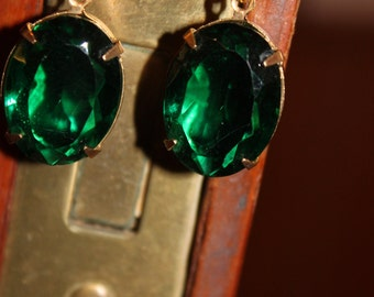 Gorgeous Emerald Glass Earrings
