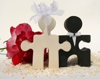 Wedding Cake Topper Salt and Pepper Puzzle People Together Forever I Love You