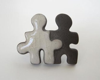 Usa Artist Handmade Ceramic Puzzle Friendship Pin