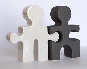 Hostess Gift Salt and Pepper Shakers Housewarming Gift Puzzle People Black and White under 50