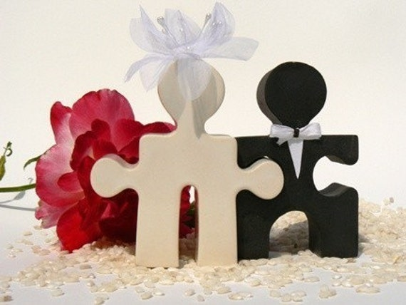 Puzzle People Wedding Cake Topper Mr. and Mrs. Bride and Groom Classic Black and White Ceramic Salt and Pepper Shaker Set For Ever After