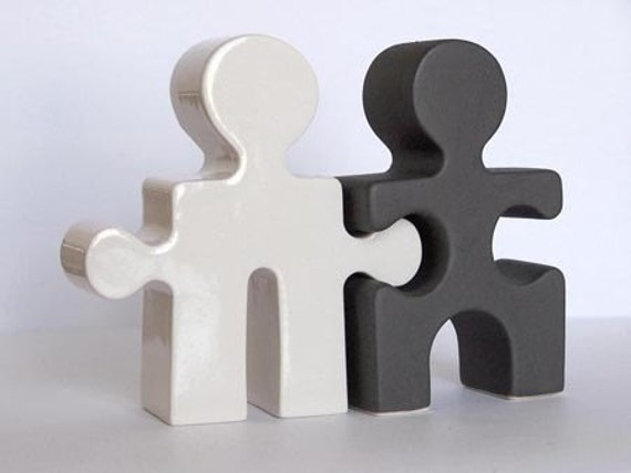 Puzzle People Salt and Pepper Shakers