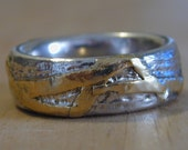 Texture gold on silver ring ,Silver gold texture ring ,wedding rings his and hers