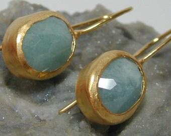 Gold aquamarine earrings , Oval  aquamarine earrings , Big gold  earrings