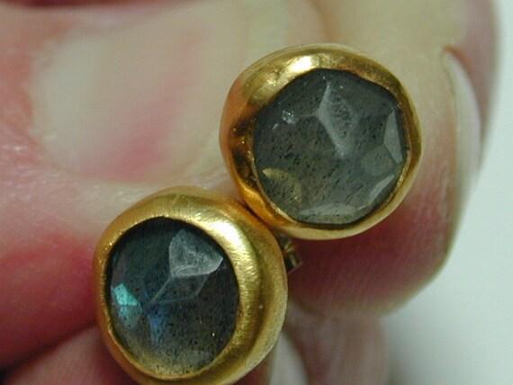 Gold earrings, Stud Labradorite earrings, Women jewelry