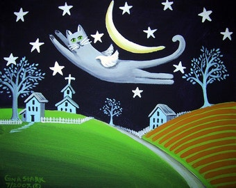 Flying Gray Cat Angel Stars and Crescent Moon Whimsical Folk Art Print