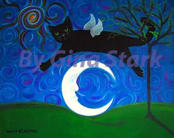 Black Cat Angel over Crescent Moon Whimsical Folk Art Magnet