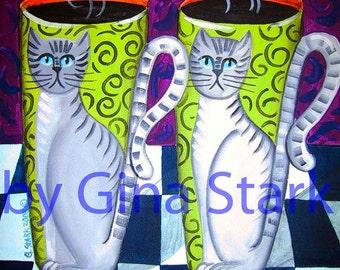 Twin Tabby Cats on coffee cups funky PoP ArT Print