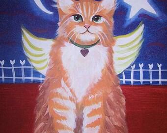 Orange Kitty angel with Heart Star and Moon Whimsical Folk Art Magnet
