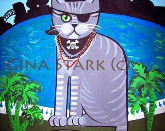 Pirate Tabby Cat Tampa Gasparilla Whimsical PoP Art Magnet