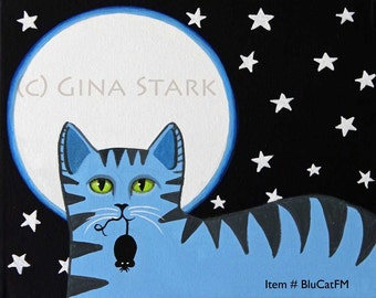 Blue Tiger Cat with Mouse Full Moon Whimsical Folk Art magnet Starlu