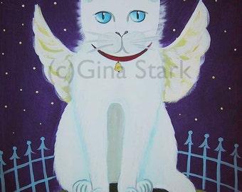 White Fluffy Cat Angel Wings Starry night Whimsical Folk Art Print