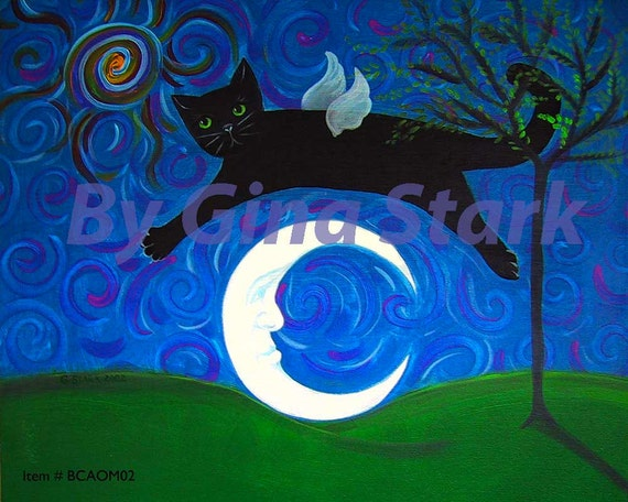 Black Cat Angel jumping over a crescent moon Wimsical Folk Art Print