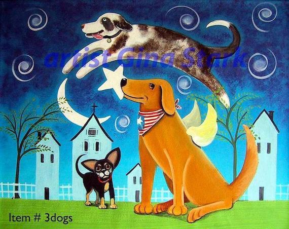 3 Dogs Out  Whimsical Folk Art Print