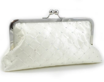 Off White Sequin Taffeta - Large Clutch