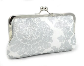 Bride's White Glitter Damask - Skinny Clutch