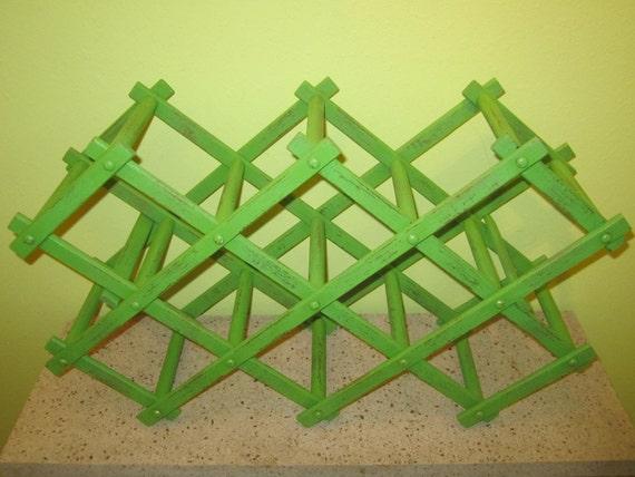Upcycled vintage green distressed wine rack storage