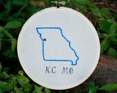 Kansas City, Missouri Map Embroidery Hoop Art. Hand Embroidered.