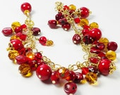 Red Coral Bracelet with Amber and Red Glass Beads Wire Wrapped Dangles