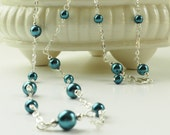 Blue Pearl Necklace Long Silver Chain Wire Wrapped