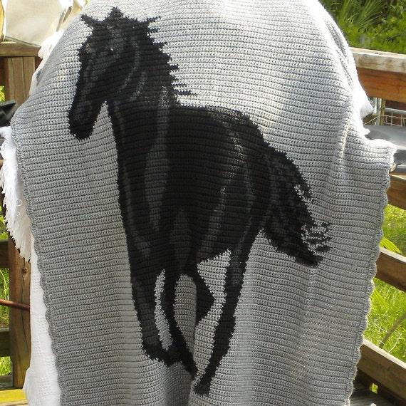 Black Horse Afghan Crochet Stallion Gray Charcoal Super Soft