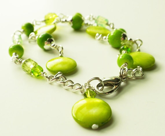 Green Beaded Bracelet with Mother of Pearl Double Strand Adjustable