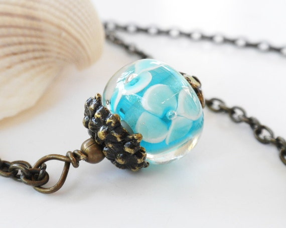 Blue Bead Necklace Pendant with Chain Victorian Antiqued Brass