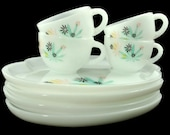 Federal PATIO Snack Sets, 50s Milk Glass Teacups and Plates - 8 pieces