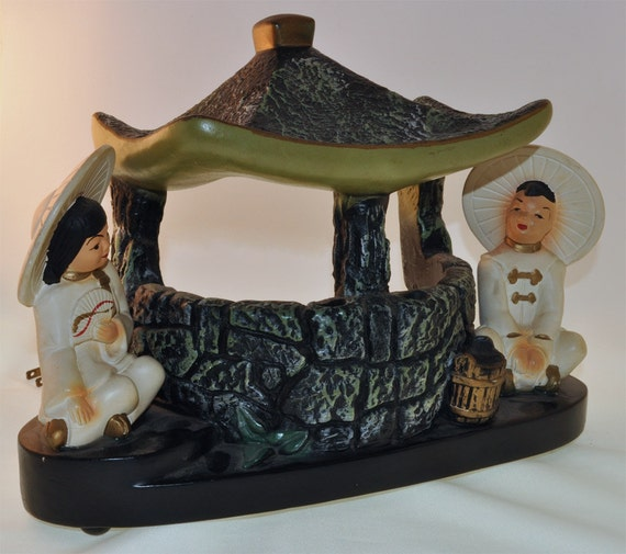 1950s Silvestri Brothers chalkware Chinese Asian figural TV lamp, pagoda