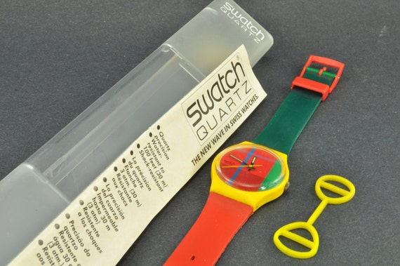 80s Swatch Watch, McGregor GJ100 Plaid Face - Mint with Box, 1985