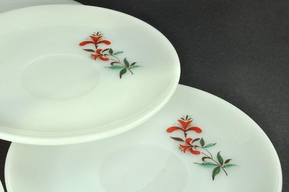 Fire King Saucers, Red Honeysuckle Pattern - Milk Glass Dinnerware