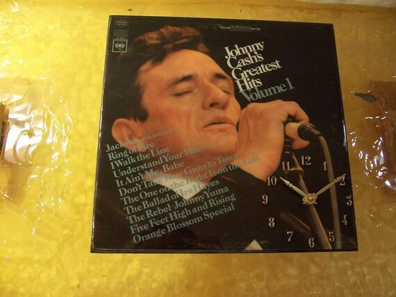 Johnny Cash's Greatest Hits Volume 1 Album Cover Clock