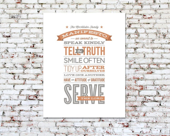 Personalized Typography Print, Inspirational Art Print // 11x14 // FAMILY MANIFESTO