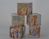Wood Block Toy or Decor - Peter Rabbit - Set of 5