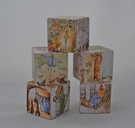 Wood block toy or decor peter rabbit set of 5 ready to for Is ready set decor legit