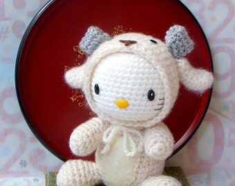 Crochet amigurumi toy doll Pattern - Zodiac Sheep / Goat  Kitty -  Amigurumi tutorial PDF