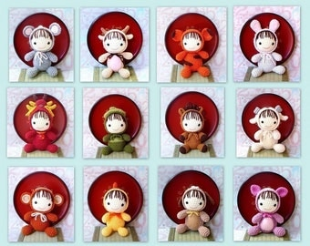 12 Amigurumi zodiac crochet animal toy dolls pattern PDF by ZodiacGurumi - Baby version