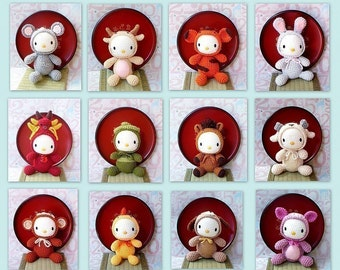 12 Amigurumi Crochet Zodiac animal toy dolls kitty patterns by ZodiacGurumi