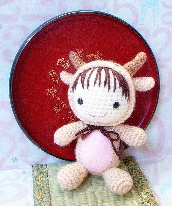 Amigurumi Pattern - Zodiac Ox Baby - Crochet amigurumi doll tutorial PDF