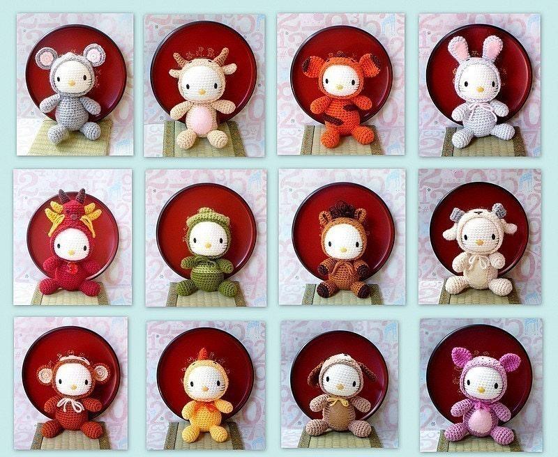 Amigurumi Zodiac Patterns : 12 Amigurumi Crochet Zodiac animal toy dolls kitty patterns by
