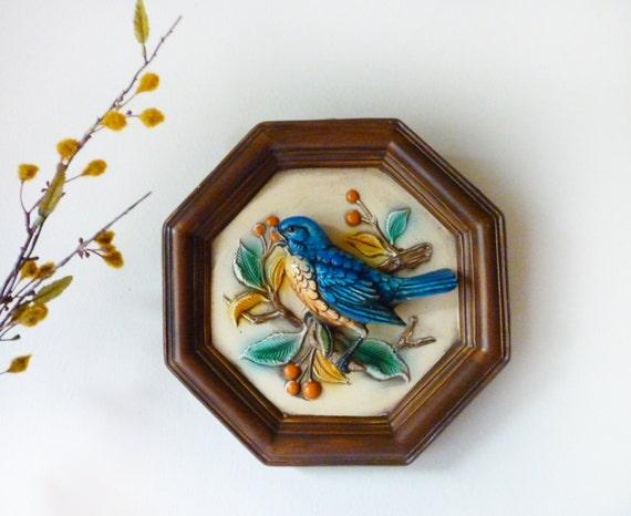 Blue Bird Vintage Napcoware 3D Plaque Wall Hanging