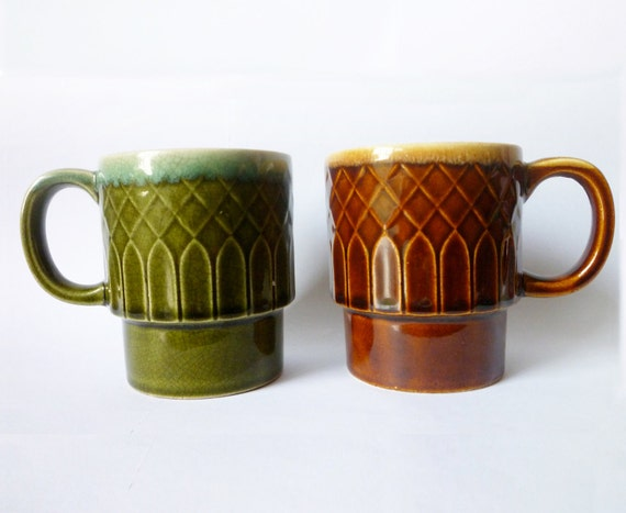 Green and Brown Mug Vintage Stackable Cups